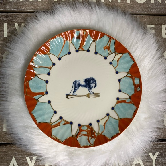 Anthropologie Lion Fork plate blue and orange